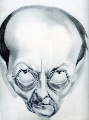Caricature d'André Malraux par Pascal Mériguet